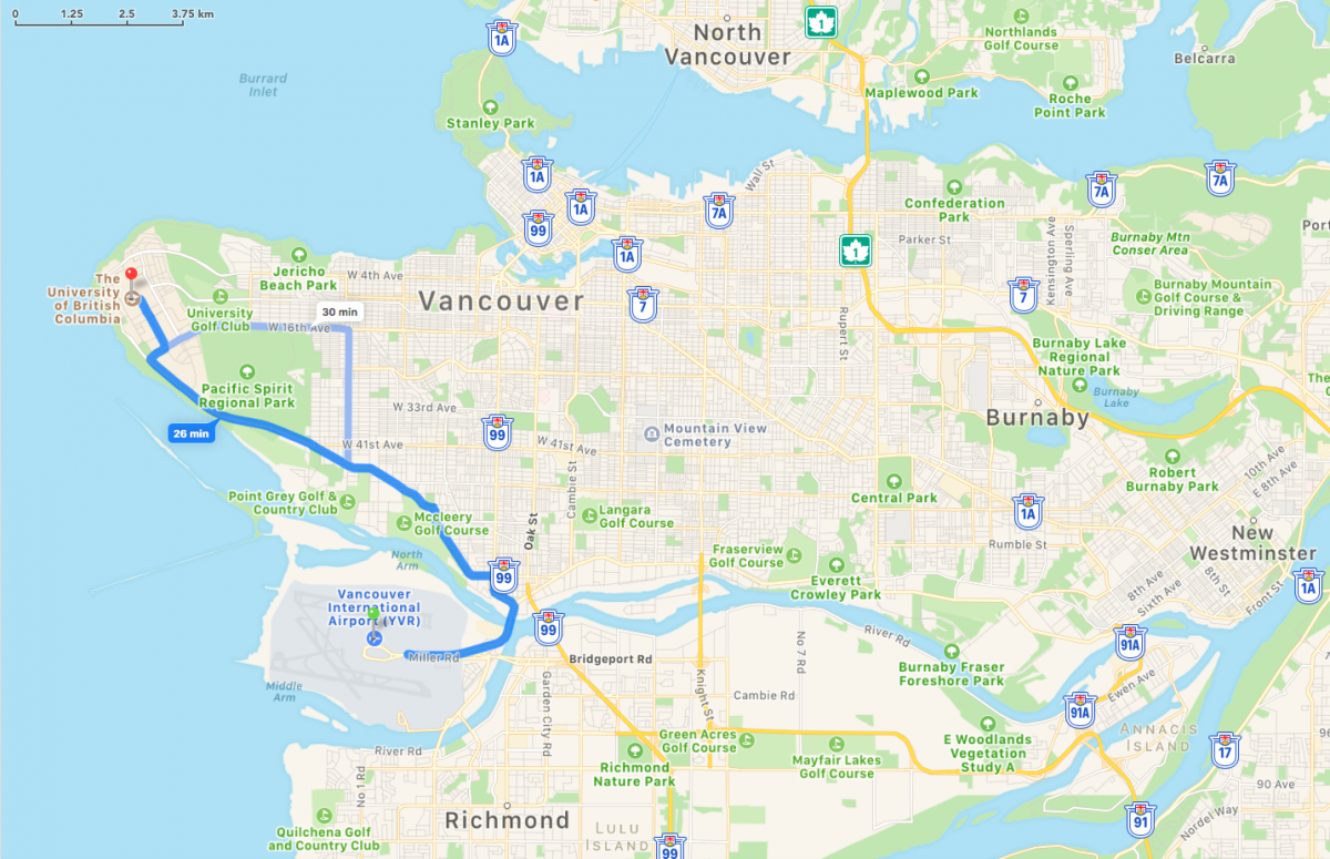 Map of route from YVR to UBC