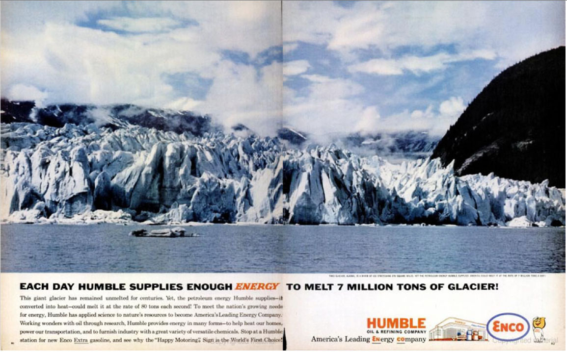 Humble oil company ad about melting glaciers