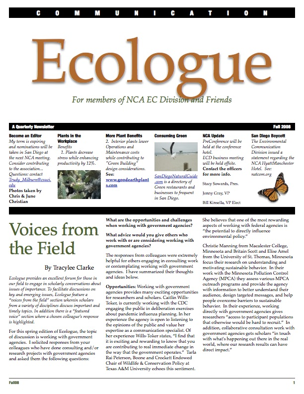 Cover of Ecologue newsletter