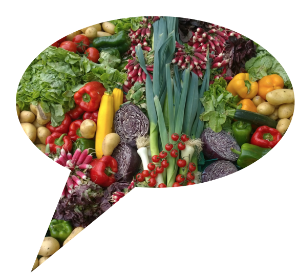 Speech bubble filled with vegetables