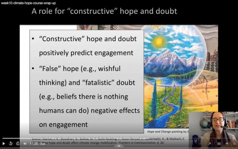 Screenshot of my concluding lecture on what research suggests about the role of emotions in climate messaging.